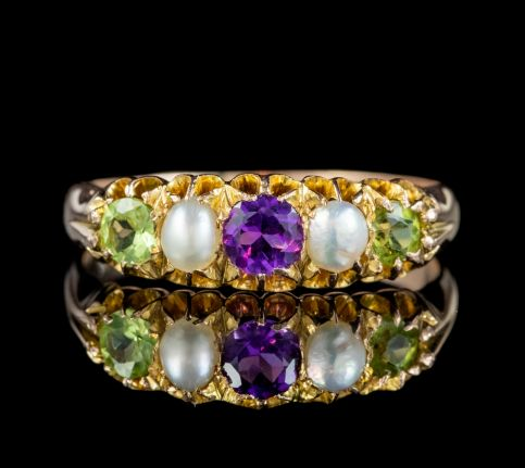 ANTIQUE EDWARDIAN SUFFRAGETTE RING AMETHYST PERIDOT PEARL18CT GOLD CIRCA 1910 front