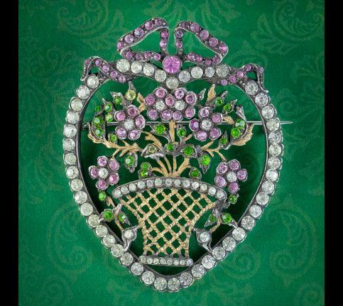 Antique-edwardian-Suffragette-Paste-Heart-And-Flower-Basket-Brooch-Circa-1910-cover