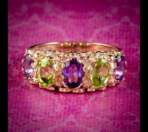 AMETHYST PERIDOT SUFFRAGETTE RING 9CT YELLOW GOLD COVER