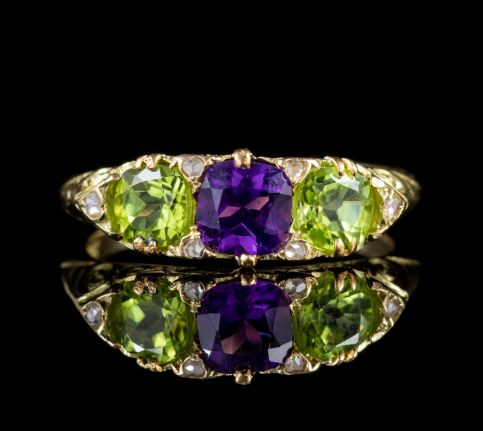 ANTIQUE EDWARDIAN 18CT GOLD SUFFRAGETTE RING PERIDOT AMETHYST DIAMOND CIRCA 1915 front