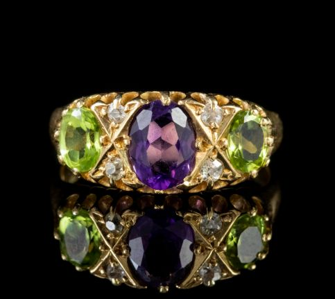 ANTIQUE SUFFRAGETTE EDWARDIAN GOLD RING AMETHYST DIAMOND PERIDOT CIRCA 1910 front