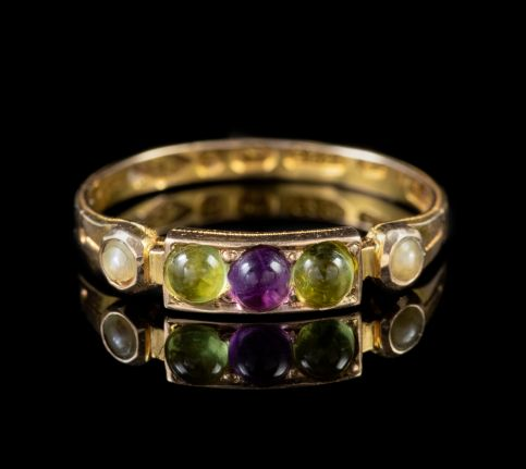 ART DECO SUFFRAGETTE PERIDOT AMETHYST PEARL RING 15CT GOLD DATED 1924 front