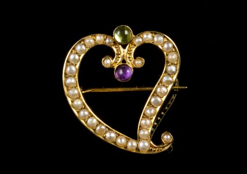 ANTIQUE EDWARDIAN SUFFRAGETTE WITCH'S HEART BROOCH 9CT GOLD CIRCA 1915