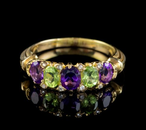 ANTIQUE SUFFRAGETTE RING AMETHYST PERIDOT DIAMOND 18CT GOLD CIRCA 1910 front