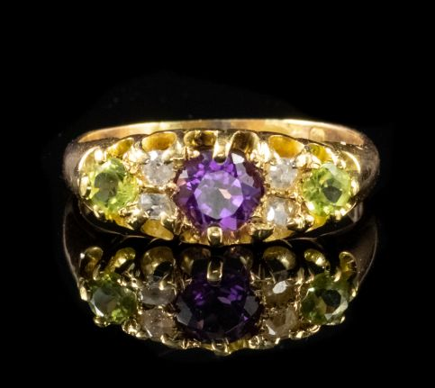 ANTIQUE VICTORIAN SUFFRAGETTE RING 18CT GOLD DATED 1886 FRONT