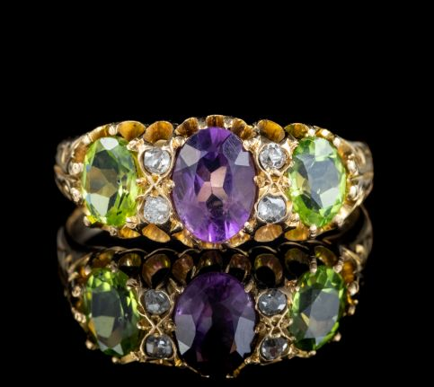 Antique Edwardian Suffragette Ring 18ct Gold Peridot Amethyst Diamond Dated 1905 front
