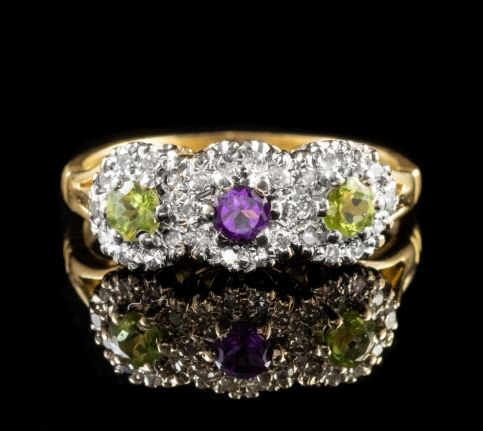 Vintage Suffragette Trilogy Cluster Ring 18ct Gold Dated London 1990