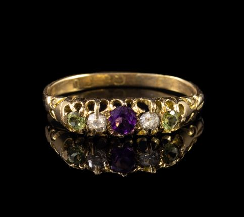 ANTIQUE EDWARDIAN SUFFRAGETTE AMETHYST DIAMOND PERIDOT RING 18CT GOLD DATED 1919