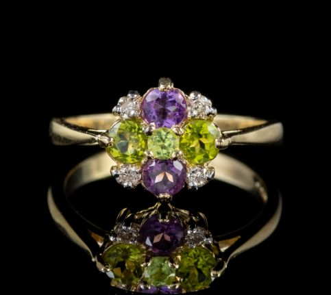 SUFFRAGETTE STYLE CLUSTER RING AMETHYST PERIDOT DIAMOND front
