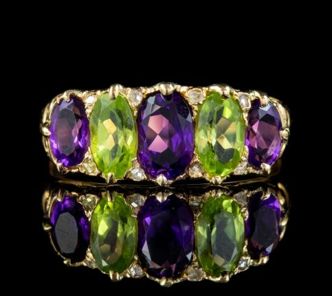 ANTIQUE EDWARDIAN SUFFRAGETTE RING 18CT GOLD PERIDOT AMETHYST DIAMOND CIRCA 1910 front