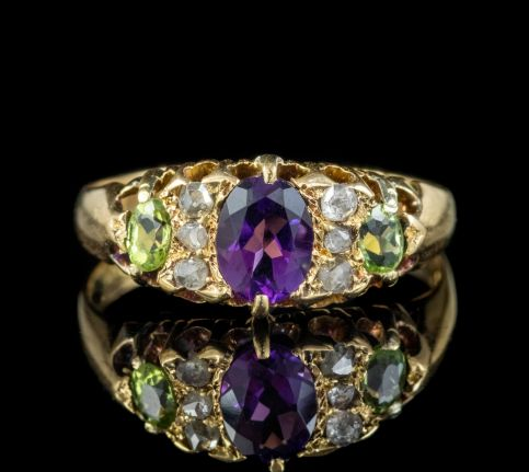 ANTIQUE EDWARDIAN SUFFRAGETTE RING 18CT GOLD AMETHYST DIAMOND PERIDOT DATED 1903 front