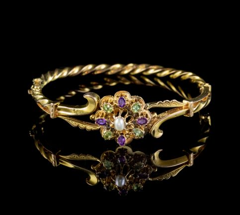 ANTIQUE SUFFRAGETTE BANGLE 15CT GOLD AMETHYST PEARL PERIDOT CIRCA 1915 front