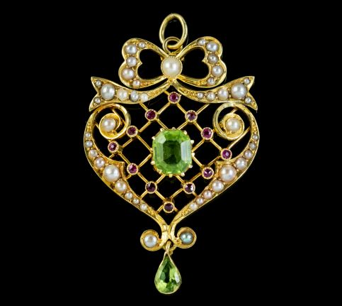 ANTIQUE EDWARDIAN SUFFRAGETTE PENDANT PERIDOT PEARL RUBY 15CT GOLD CIRCA 1910 front