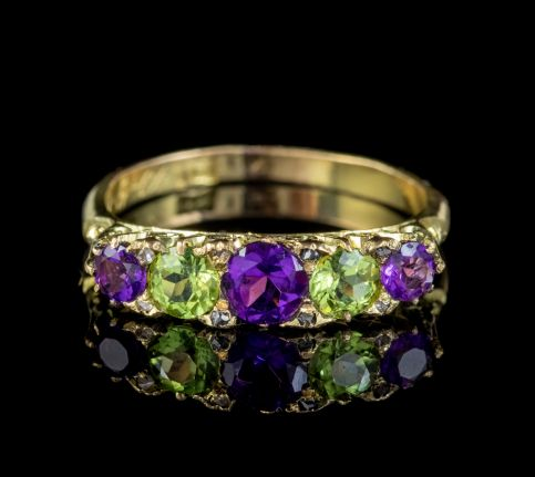 ANTIQUE EDWARDIAN SUFFRAGETTE RING AMETHYST PERIDOT DIAMOND 18CT GOLD CIRCA 1904 front