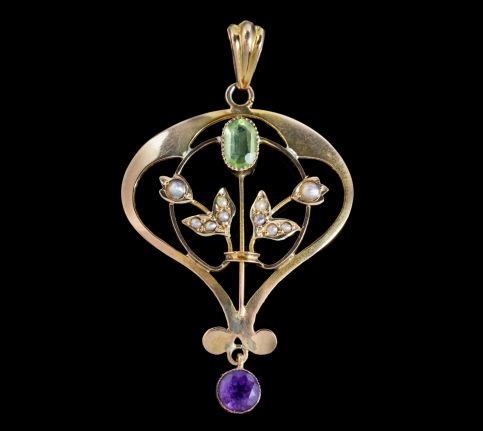 ANTIQUE SUFFRAGETTE FLORAL PENDANT 9CT GOLD AMETHYST PERIDOT PEARL CIRCA 1910 front