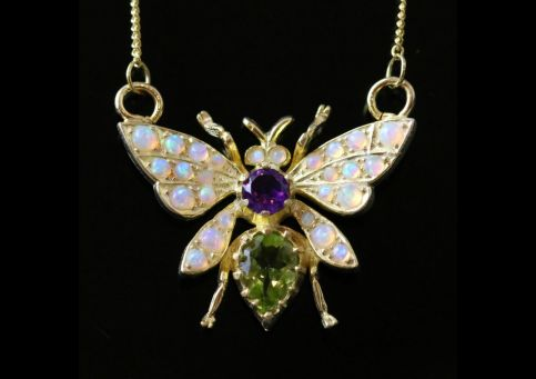 BUTTERFLY SUFFRAGETTE PENDANT NECKLACE PERIDOT OPAL AMETHYST SILVER 18CT GOLD