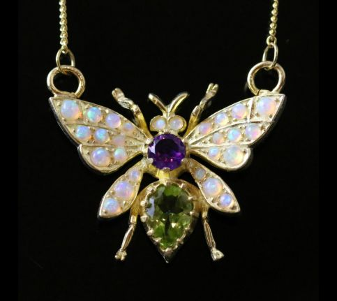 SUFFRAGETTE BUTTERFLY PENDANT NECKLACE PERIDOT OPAL AND AMETHYST