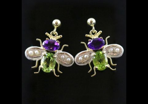 SUFFRAGETTE INSECT BEE EARRINGS AMETHYST PERIDOT PEARLS