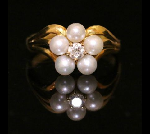 ANTIQUE GEORGIAN NATURAL PEARL DIAMOND RING CIRCA 1800