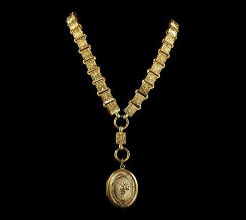 ANTIQUE LOCKET & COLLAR - GOLD ON SILVER CIRCA 1880 - GRAPES