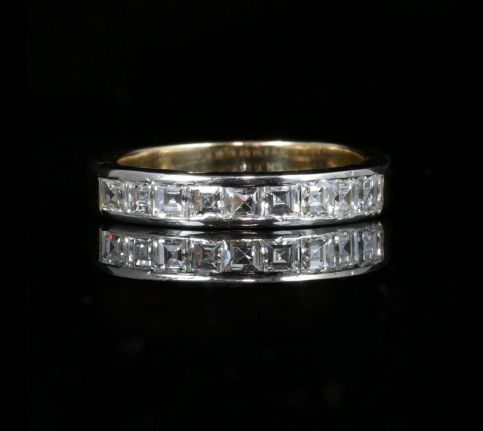 DIAMOND HALF ETERNITY RING ASSCHER CUT DIAMONDS FRENCH PLATINUM