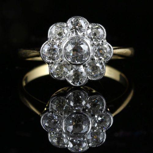 ANTIQUE DIAMOND CLUSTER RING 18CT GOLD 1.54CT