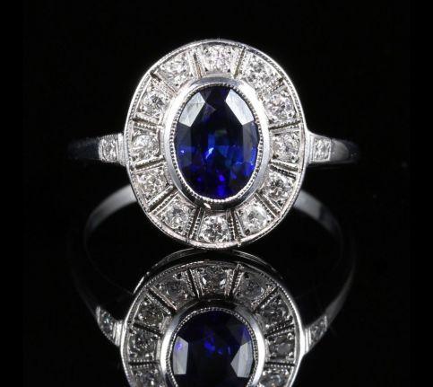ANTIQUE ART DECO SAPPHIRE DIAMOND RING FABULOUS SAPPHIRE
