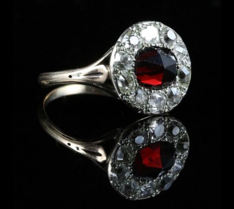 ANTIQUE GEORGIAN GARNET DIAMOND RING 18TH CENTURY