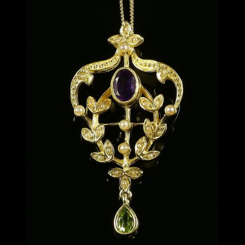 SUFFRAGETTE PENDANT & CHAIN - PERIDOT PEARL AND AMETHYST