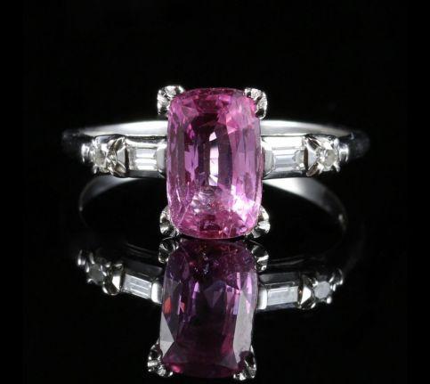 PINK SAPPHIRE DIAMOND RING 14CT 3CT PINK SAPPHIRE