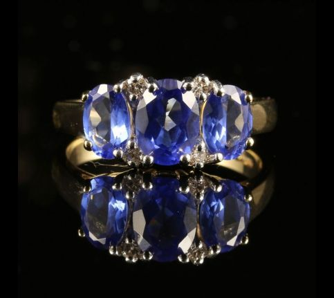 SAPPHIRE DIAMOND RING GOLD TRILOGY 3.35CT