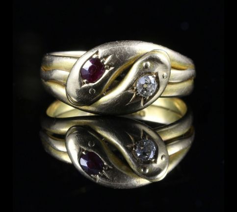 ANTIQUE EDWARDIAN DIAMOND RUBY SNAKE RING DATED 1905