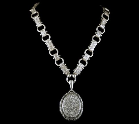 ANTIQUE VICTORIAN LOCKET NECKLACE STERLING SILVER DATED 1880