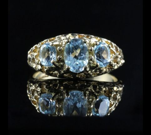 Aquamarine Gold Ring Trilogy Of Aquamarines 9ct Gold front view