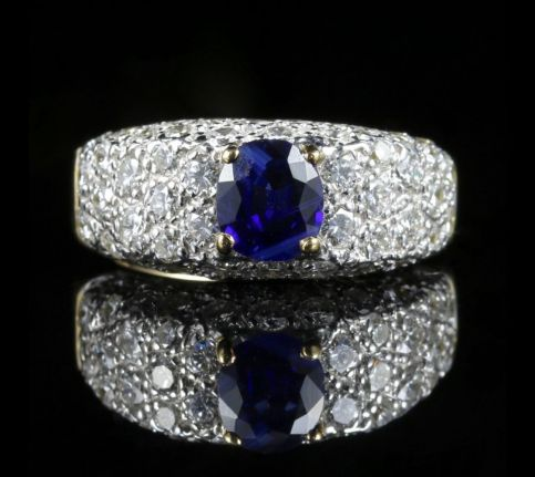 DIAMOND SAPPHIRE ENGAGEMENT RING 5CT DIAMOND 18CT GOLD