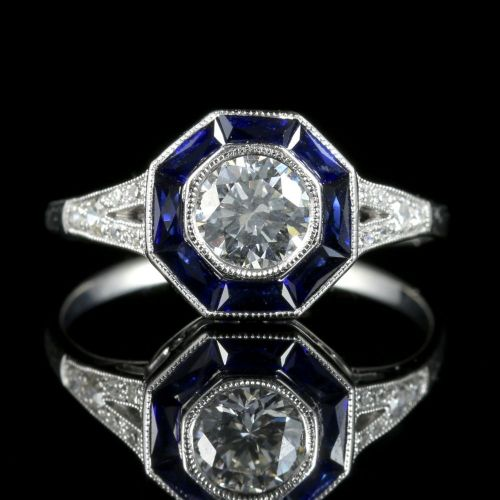 Art Deco Diamond Sapphire Ring 18ct White Gold Engagement Ring front view