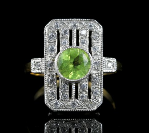 Art Deco Style Paste and Peridot Ring front view