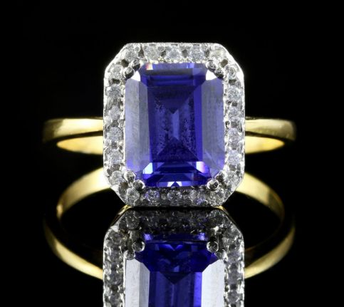 Tanzanite And Paste Ring 18ct Gold On Silver Front View