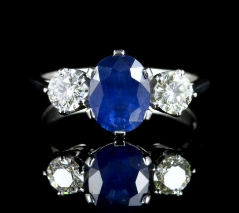 Sapphire Diamond Trilogy Ring 2.40ct Sapphire 1.20ct Diamond front view