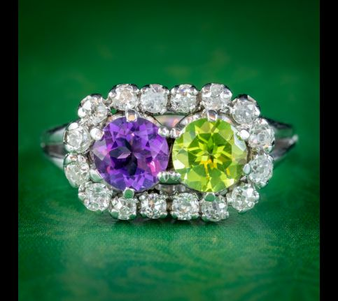 VINTAGE FRENCH SUFFRAGETTE RING PLATINUM PERIDOT AMETHYST 0.80CT OF DIAMOND CIRCA 1950 cover