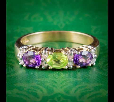 Suffragette-Amethyst-Peridot-Diamond-Ring-9ct-Gold-cover