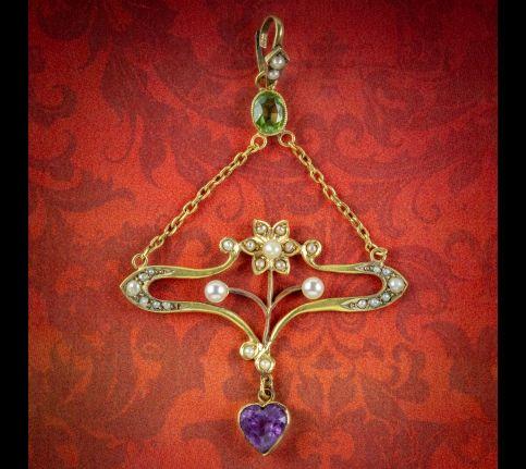Antique-Art-Nouveau-Suffragette-Pendant-15ct-Gold-Peridot-Amethyst-Pearl-Circa-1910-COVER