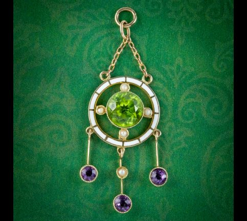 ANTIQUE EDWARDIAN SUFFRAGETTE PENDANT 9CT GOLD AMETHYST PERIDOT PEARL CIRCA 1910 cover