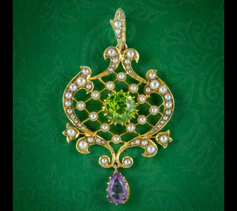 Antique-Edwardian-Suffragette-Pendant-15ct-Gold-Peridot-Amethyst-Pearl-Circa-1910-cover