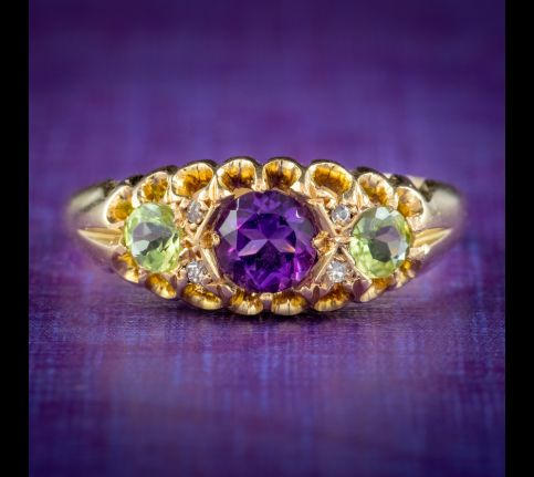 ANTIQUE SUFFRAGETTE RING AMETHYST PERIDOT DIAMOND 18CT GOLD S BLANCKENSEE AND SON DATED 1917 cover