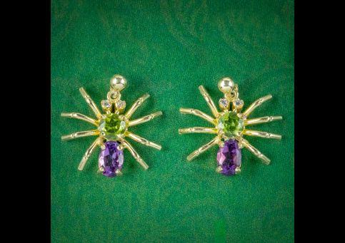 Edwardian-Style-Suffragette-Spider-Stud-Earrings-Amethyst-Peridot-Diamond-cover