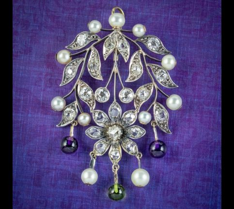 Antique-Edwardian-Suffragette-Floral-Pendant-Amethyst-Peridot-Diamond-Pearl-Silver-18ct-Gold-Circa-1910-cover