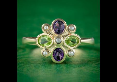 Edwardian-Suffragette-Style-Cluster-Ring-Amethyst-Peridot-Pearl-cover