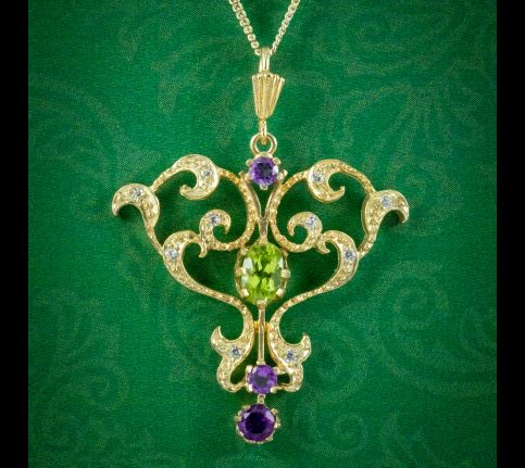 Edwardian-Suffragette-Style-Pendant-Necklace-Amethyst-Peridot-Diamond-cover