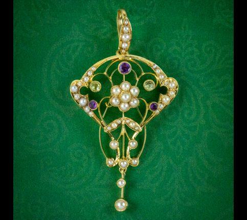 Antique-Edwardian-Suffragette-Floral-Pendant-15ct-Gold-Circa-1910-cover